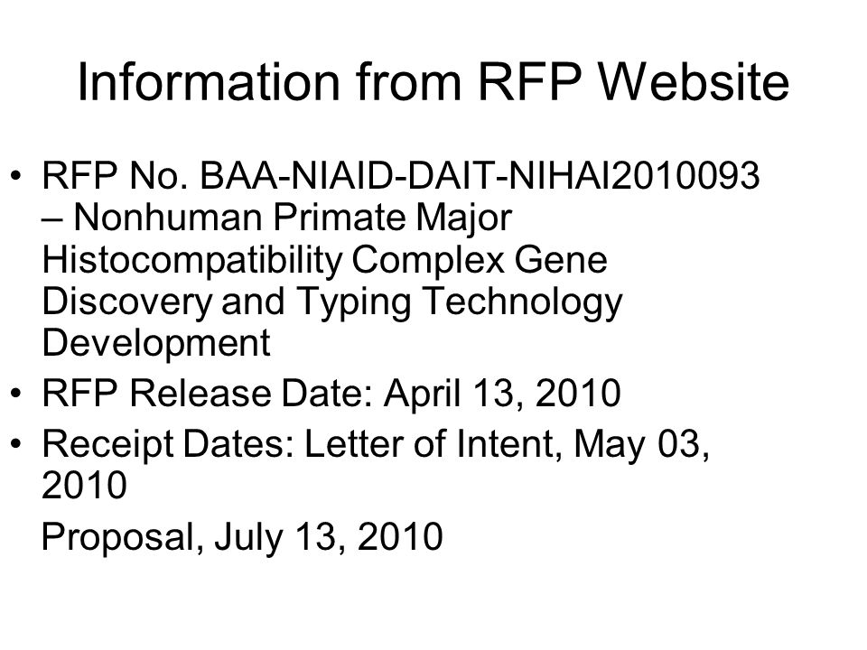 Information from RFP Website RFP No.