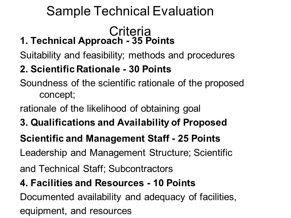 Sample Technical Evaluation Criteria 1.