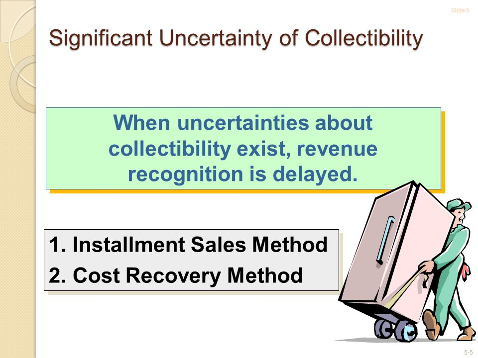 Slide 5 5-5 Significant Uncertainty of Collectibility 1.Installment Sales Method 2.Cost Recovery Method 1.Installment Sales Method 2.Cost Recovery Method When uncertainties about collectibility exist, revenue recognition is delayed.