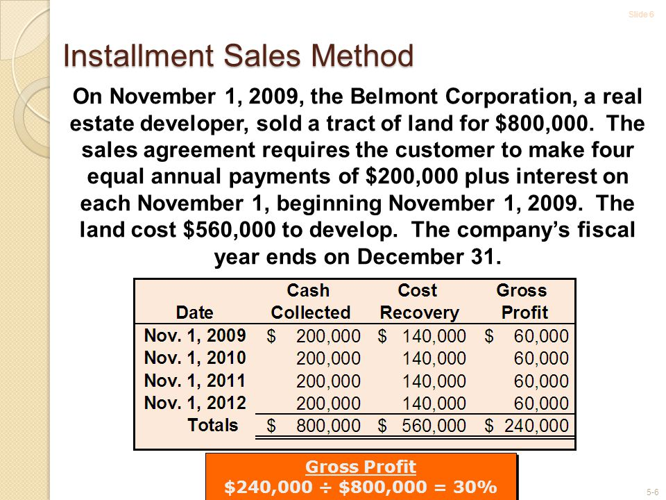 Slide 6 5-6 Installment Sales Method On November 1, 2009, the Belmont Corporation, a real estate developer, sold a tract of land for $800,000. The sal