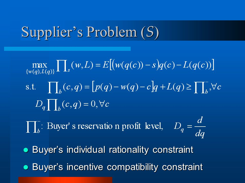 Suppliers Problem ( S ) Buyers individual rationality constraint Buyers individual rationality constraint Buyers incentive compatibility constraint Buyers incentive compatibility constraint