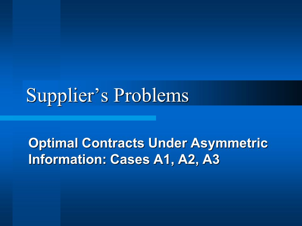 Suppliers Problems Optimal Contracts Under Asymmetric Information: Cases A1, A2, A3
