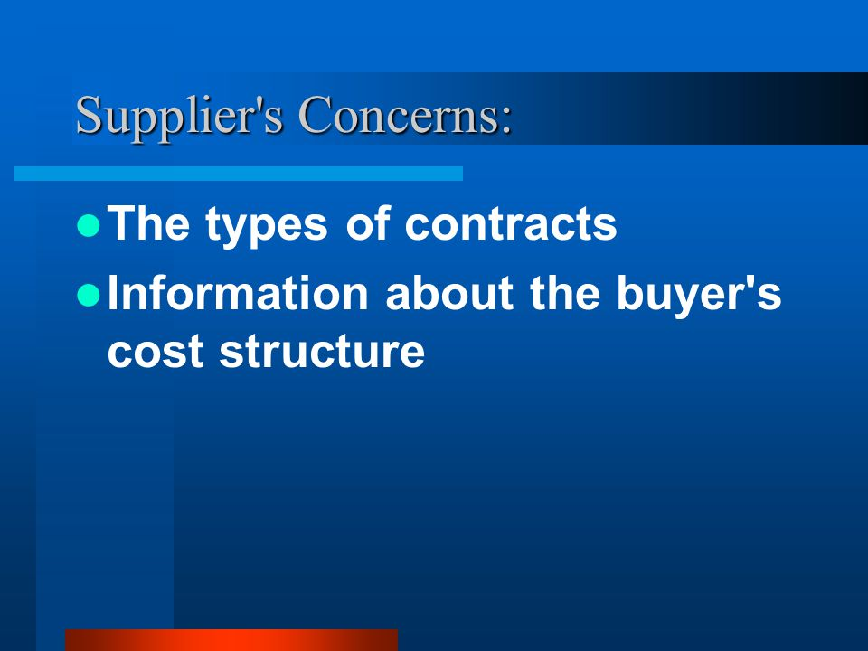 Supplier s Concerns: The types of contracts Information about the buyer s cost structure