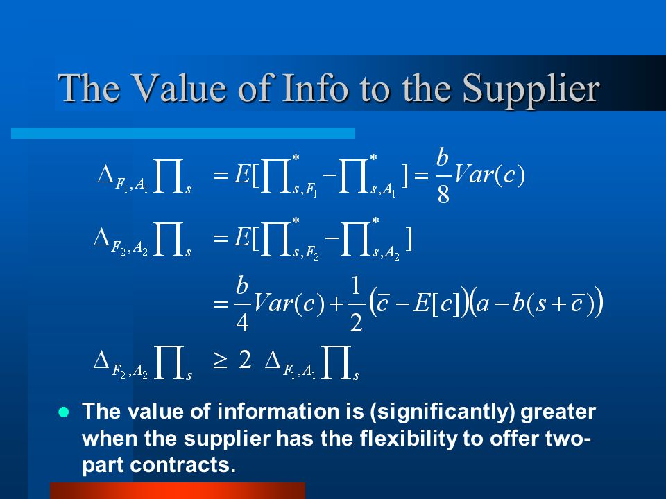 The Value of Info to the Supplier The value of information is (significantly) greater when the supplier has the flexibility to offer two- part contracts.
