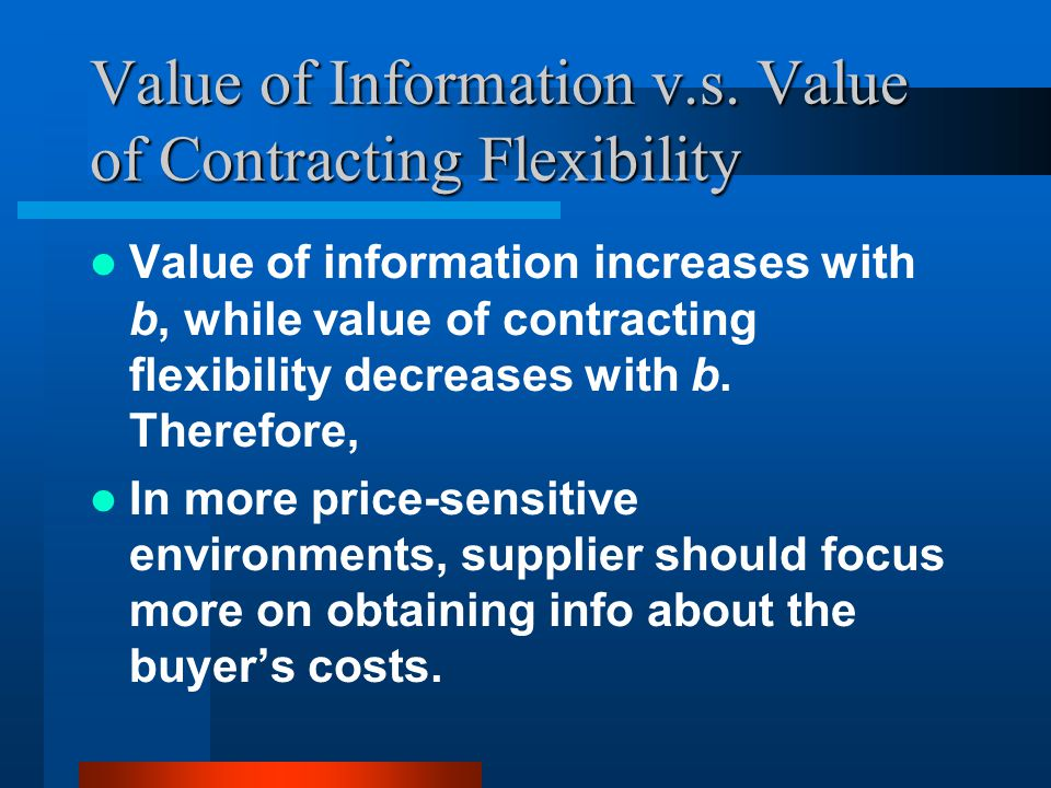 Value of Information v.s. Value of Contracting Flexibility Value of information increases with b, while value of contracting flexibility decreases wit