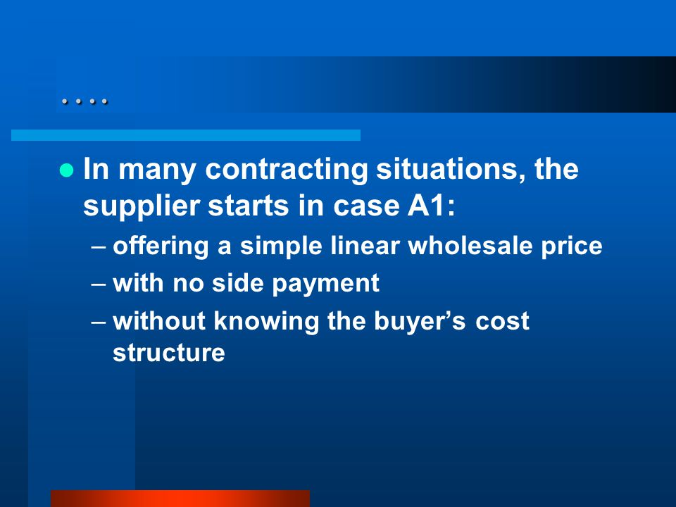 …. In many contracting situations, the supplier starts in case A1: –offering a simple linear wholesale price –with no side payment –without knowing th
