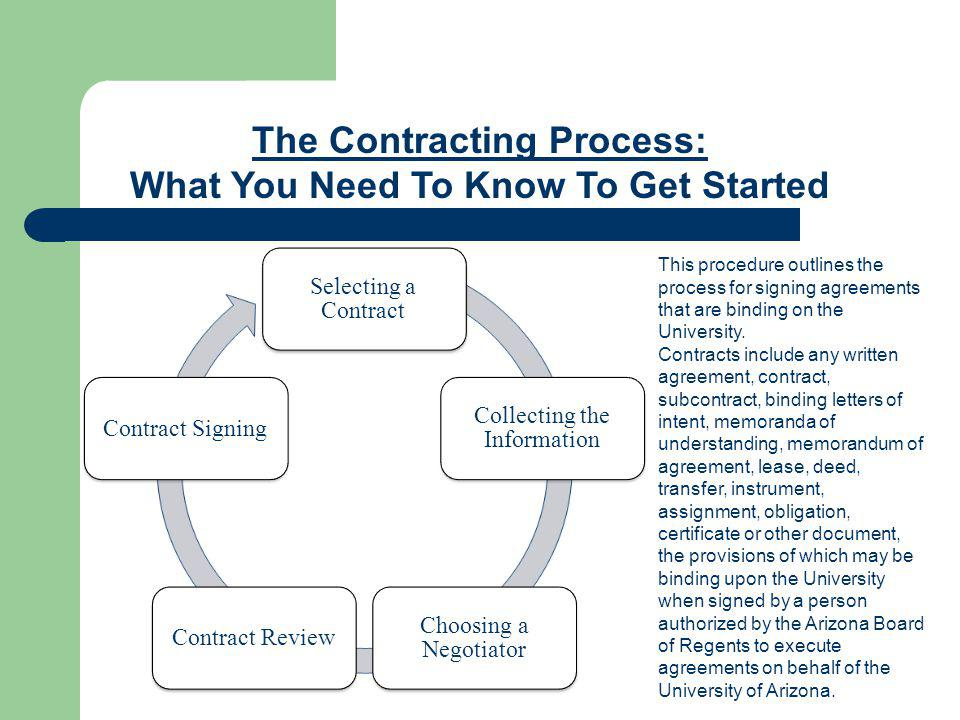 The Contracting Process: What You Need To Know To Get Started Step 5: Contract Signing, Continued For Contracting: The process is the same as for Purchasing but Contracting works directly with the department and will send the signed agreements back to the department who forwards the contract to the Vendor for countersignature.