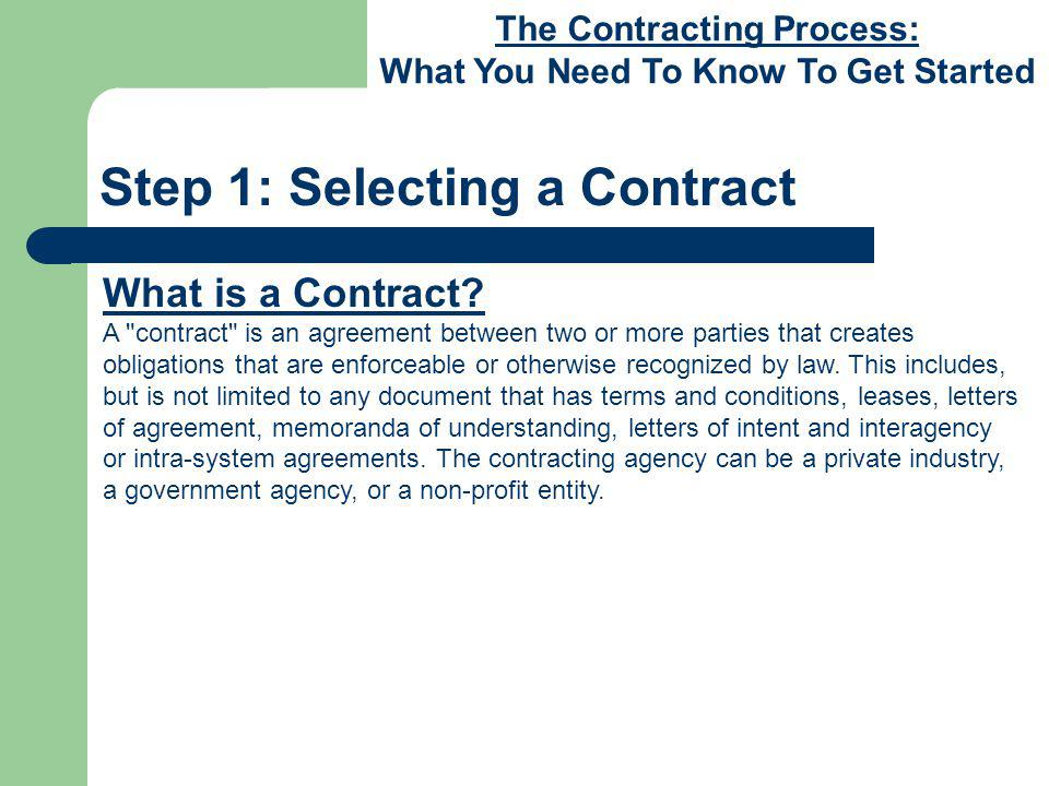 The Contracting Process: What You Need To Know To Get Started Step 1: Selecting a Contract Which Contract Should I Use.