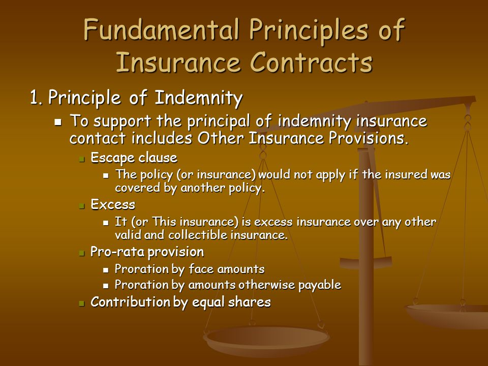 Fundamental Principles of Insurance Contracts 1. Principle of Indemnity To support the principal of indemnity insurance contact includes Other Insuran