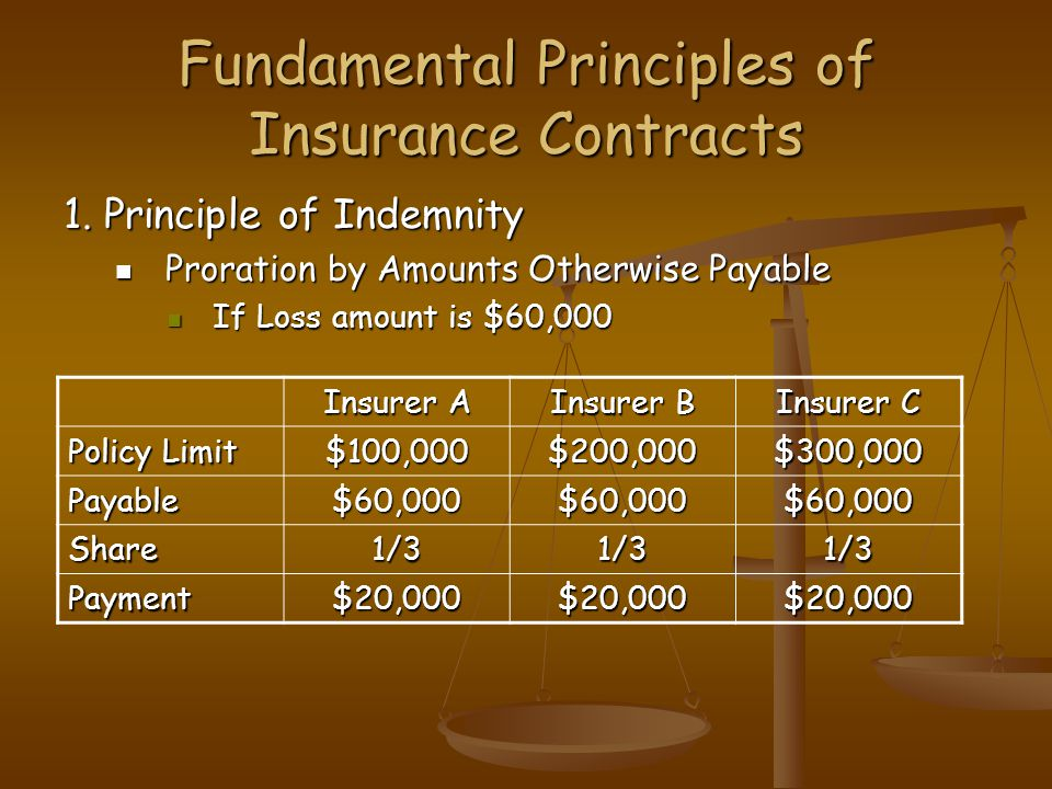 Fundamental Principles of Insurance Contracts 1. Principle of Indemnity Proration by Amounts Otherwise Payable Proration by Amounts Otherwise Payable