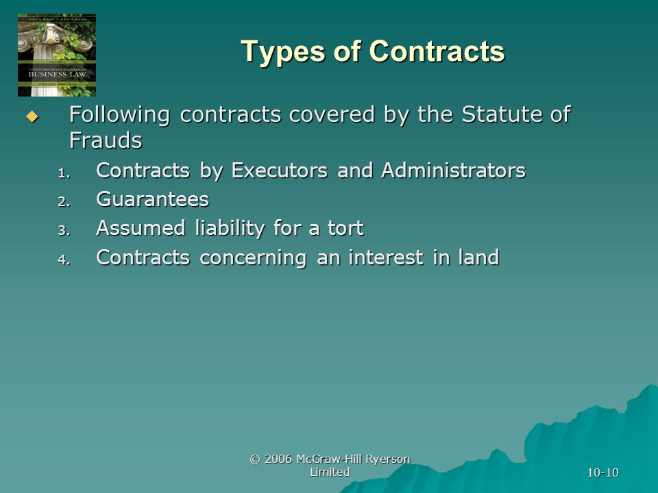 © 2006 McGraw-Hill Ryerson Limited 10-10 Types of Contracts Following contracts covered by the Statute of Frauds Following contracts covered by the Statute of Frauds 1.