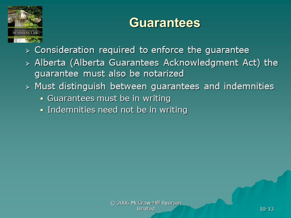 © 2006 McGraw-Hill Ryerson Limited 10-13 Guarantees Consideration required to enforce the guarantee Consideration required to enforce the guarantee Alberta (Alberta Guarantees Acknowledgment Act) the guarantee must also be notarized Alberta (Alberta Guarantees Acknowledgment Act) the guarantee must also be notarized Must distinguish between guarantees and indemnities Must distinguish between guarantees and indemnities Guarantees must be in writing Guarantees must be in writing Indemnities need not be in writing Indemnities need not be in writing