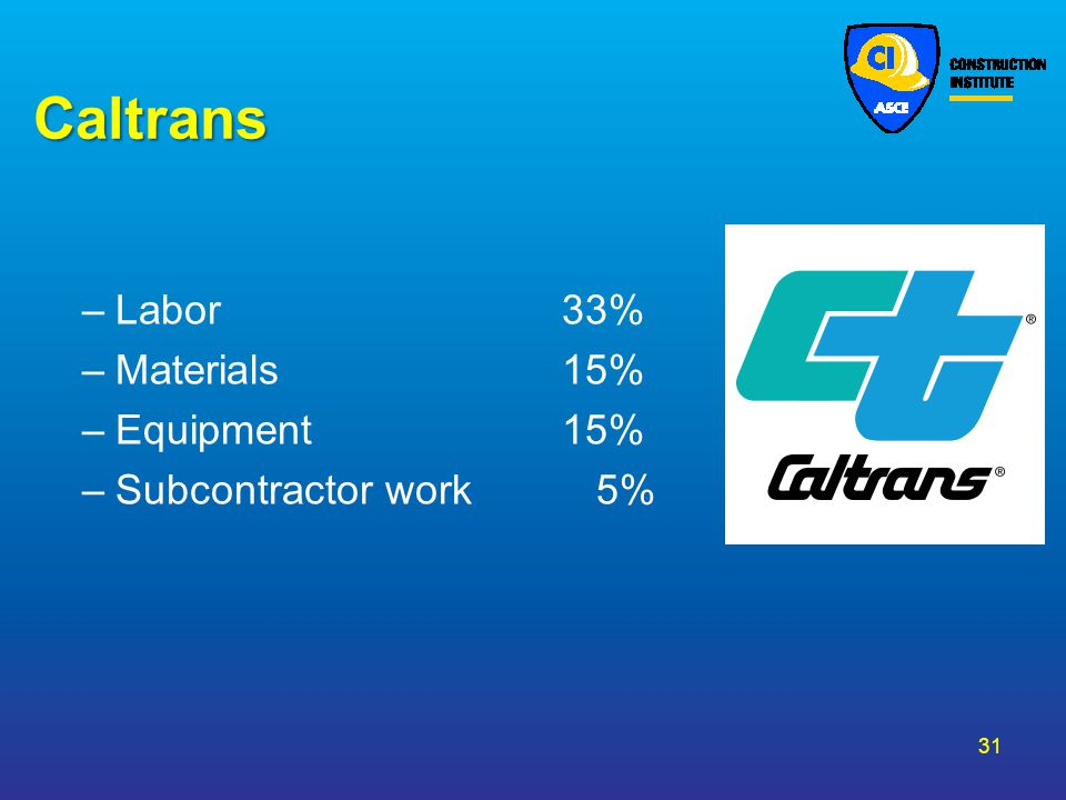 Caltrans –Labor 33% –Materials 15% –Equipment 15% –Subcontractor work 5% 31