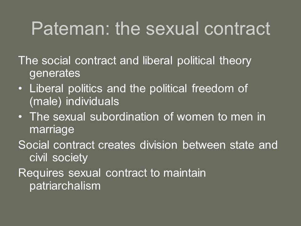 Pateman: the sexual contract The social contract and liberal political theory generates Liberal politics and the political freedom of (male) individua