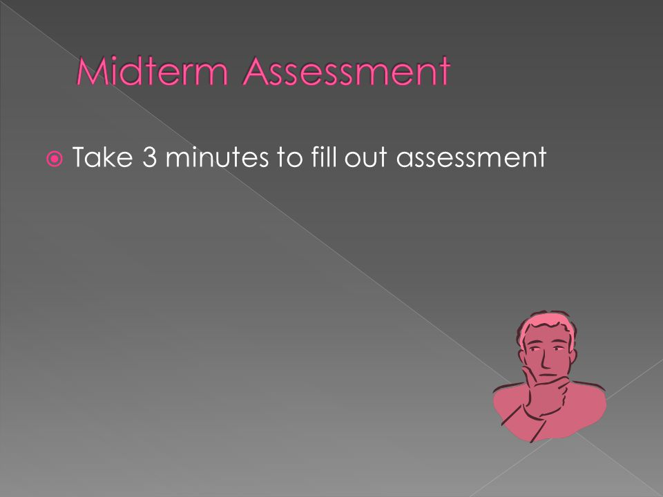 Take 3 minutes to fill out assessment