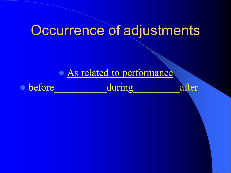 Occurrence of adjustments As related to performance before__________during_________after