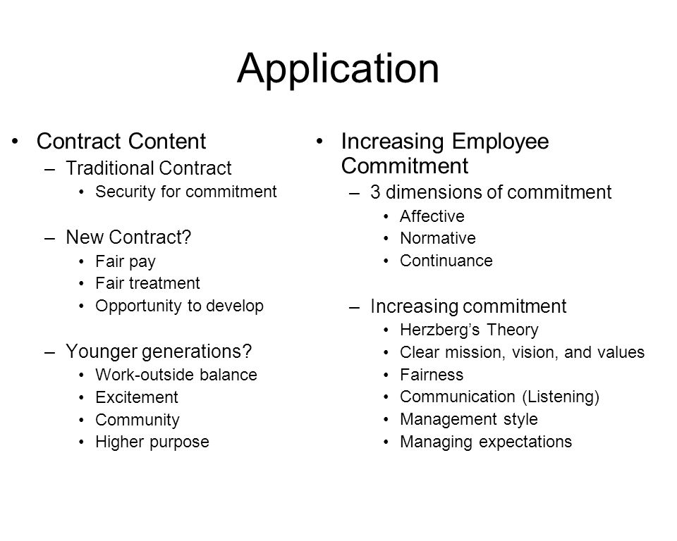 Application Contract Content –Traditional Contract Security for commitment –New Contract.