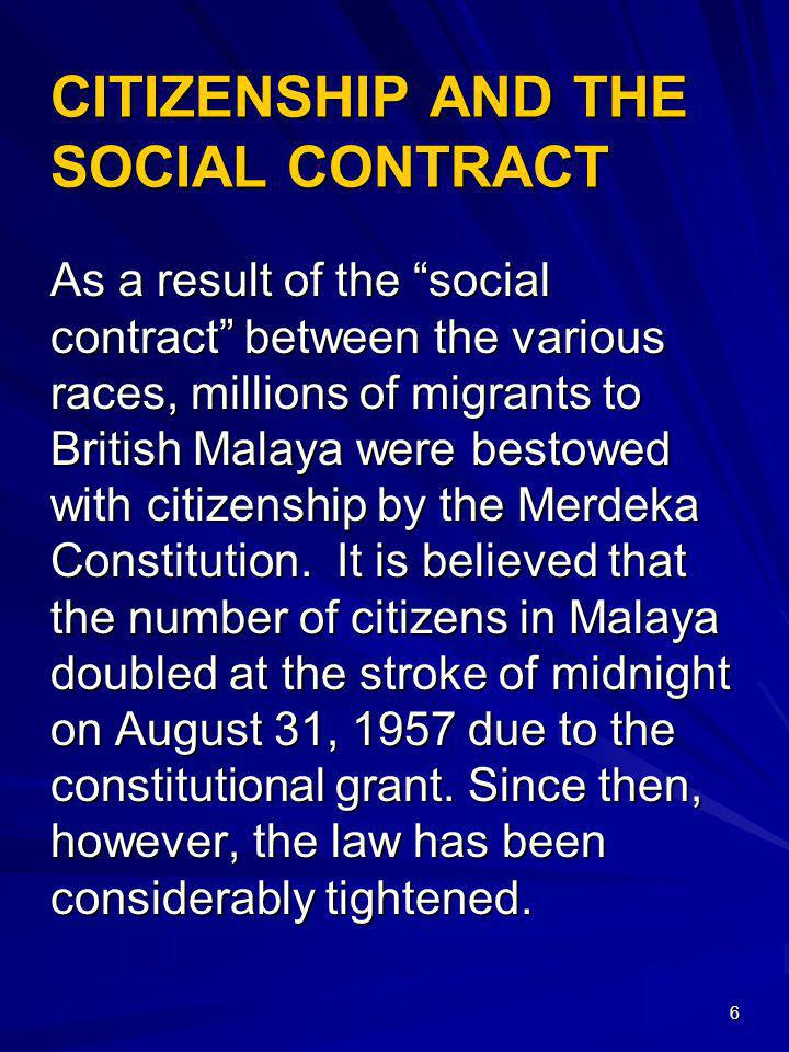 47 IMPACT OF ARTICLE 153 Article 153(1) of the Federal Constitution enjoins affirmative action in favour of Malays and the natives of Sabah and Sarawak.