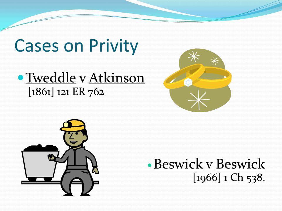 Cases on Privity Tweddle v Atkinson [1861] 121 ER 762 Beswick v Beswick [1966] 1 Ch 538.