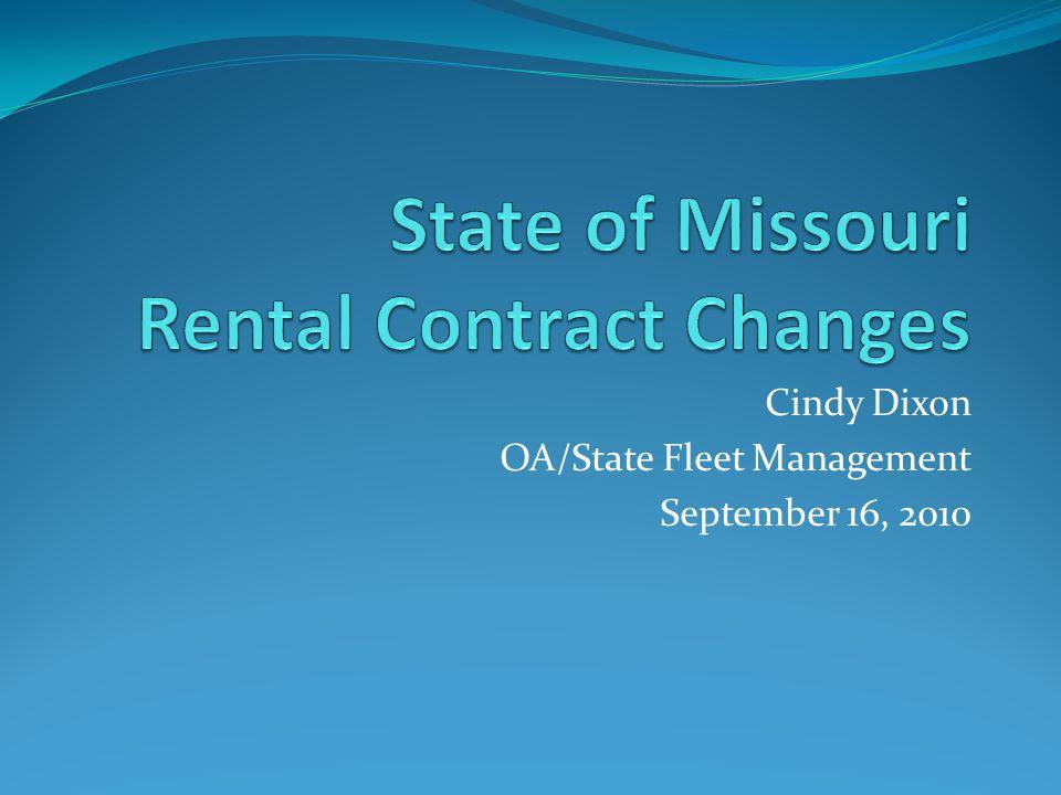 Cindy Dixon OA/State Fleet Management September 16, 2010