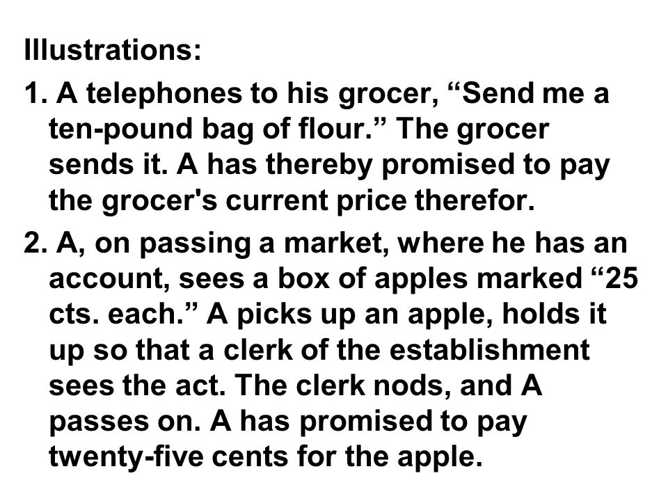 Illustrations: 1. A telephones to his grocer, Send me a ten-pound bag of flour.