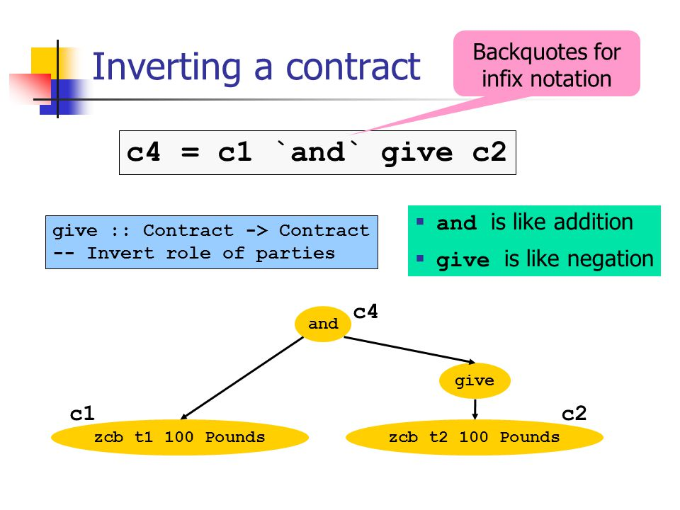 Inverting a contract and zcb t1 100 Poundszcb t2 100 Pounds give :: Contract -> Contract -- Invert role of parties c4 = c1 `and` give c2 give c2 c4 c1 and is like addition give is like negation Backquotes for infix notation