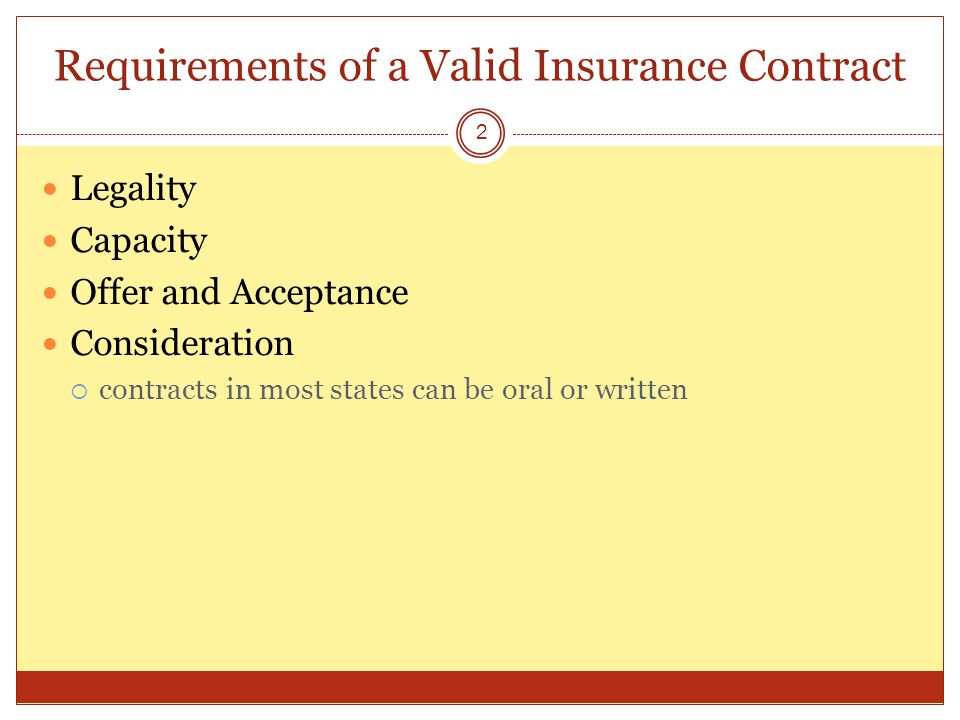 1 Legal Principles Of Insurance Contracts. Requirements Of A Valid