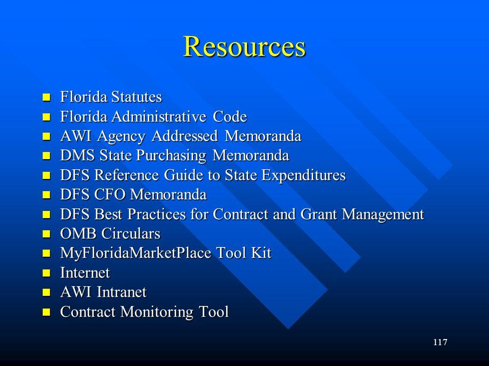117 Resources Florida Statutes Florida Statutes Florida Administrative Code Florida Administrative Code AWI Agency Addressed Memoranda AWI Agency Addr