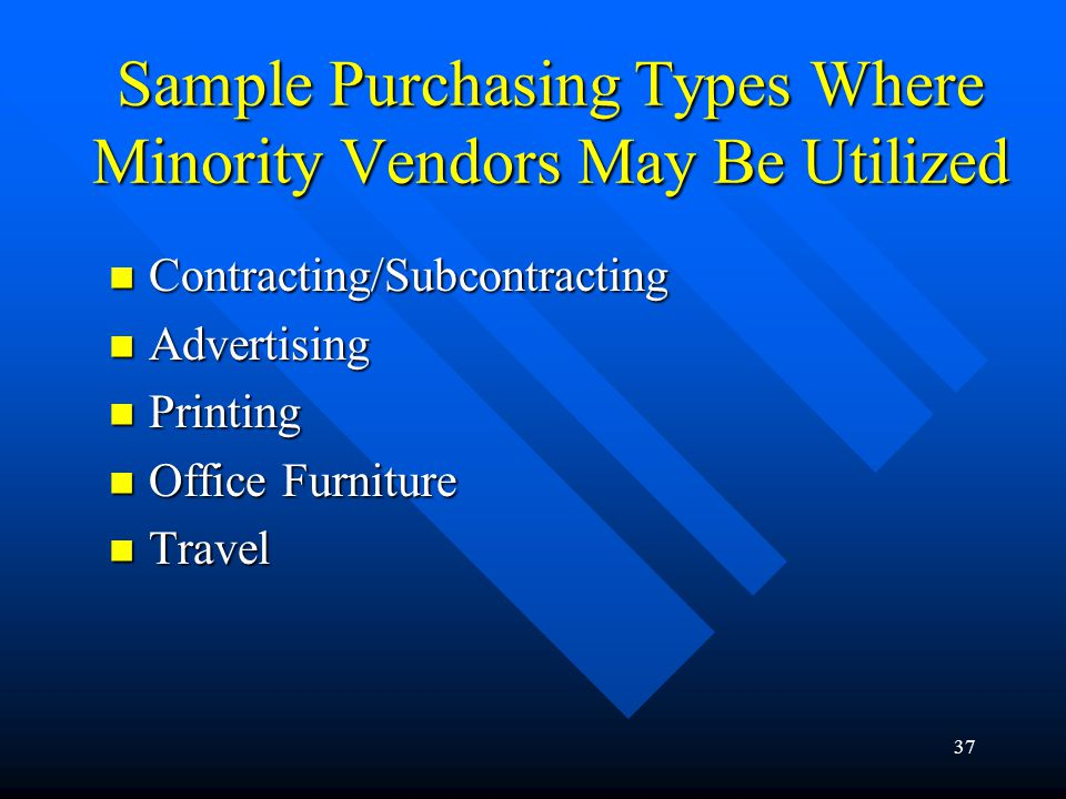 37 Sample Purchasing Types Where Minority Vendors May Be Utilized Contracting/Subcontracting Contracting/Subcontracting Advertising Advertising Printi
