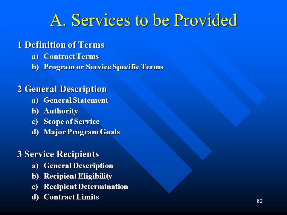 82 A. Services to be Provided 1 Definition of Terms a)Contract Terms b)Program or Service Specific Terms 2 General Description a)General Statement b)A