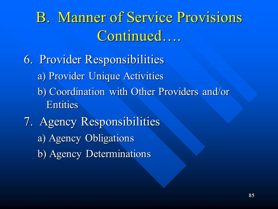 85 B. Manner of Service Provisions Continued…. 6. Provider Responsibilities a) Provider Unique Activities b) Coordination with Other Providers and/or