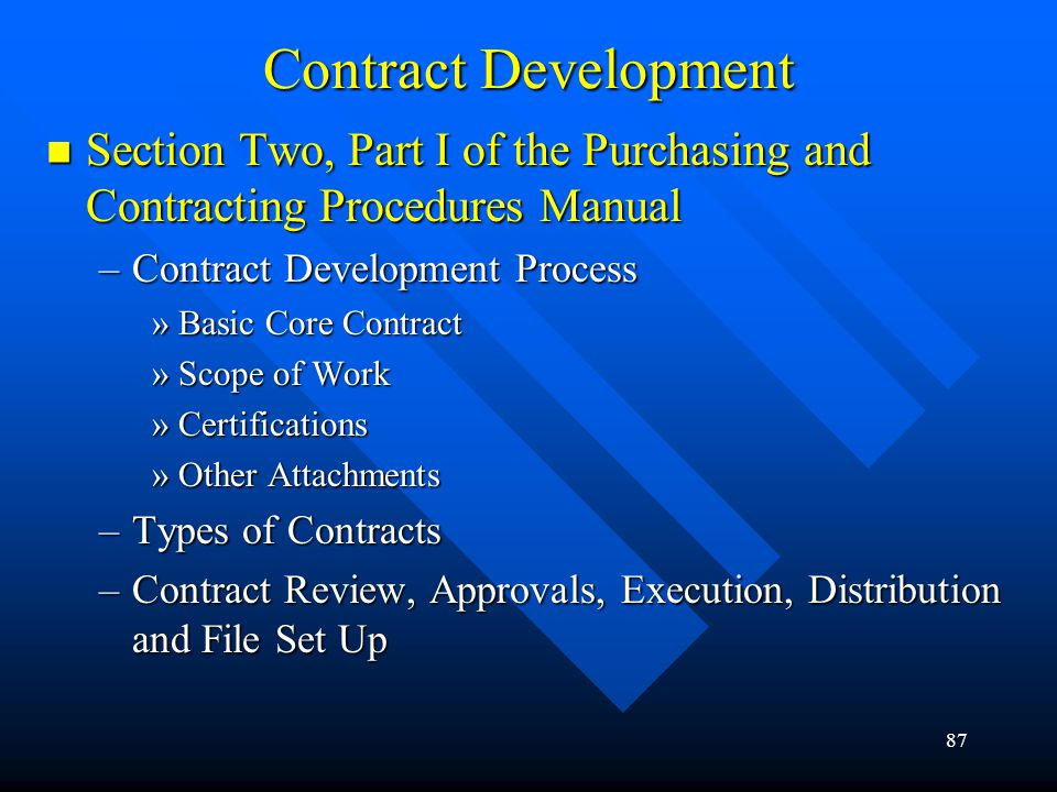 87 Section Two, Part I of the Purchasing and Contracting Procedures Manual Section Two, Part I of the Purchasing and Contracting Procedures Manual –Co