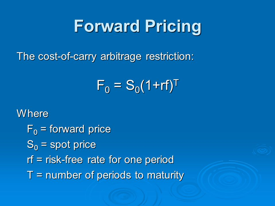 Forward Pricing The cost-of-carry arbitrage restriction: F 0 = S 0 (1+rf) T Where F 0 = forward price S 0 = spot price rf = risk-free rate for one per