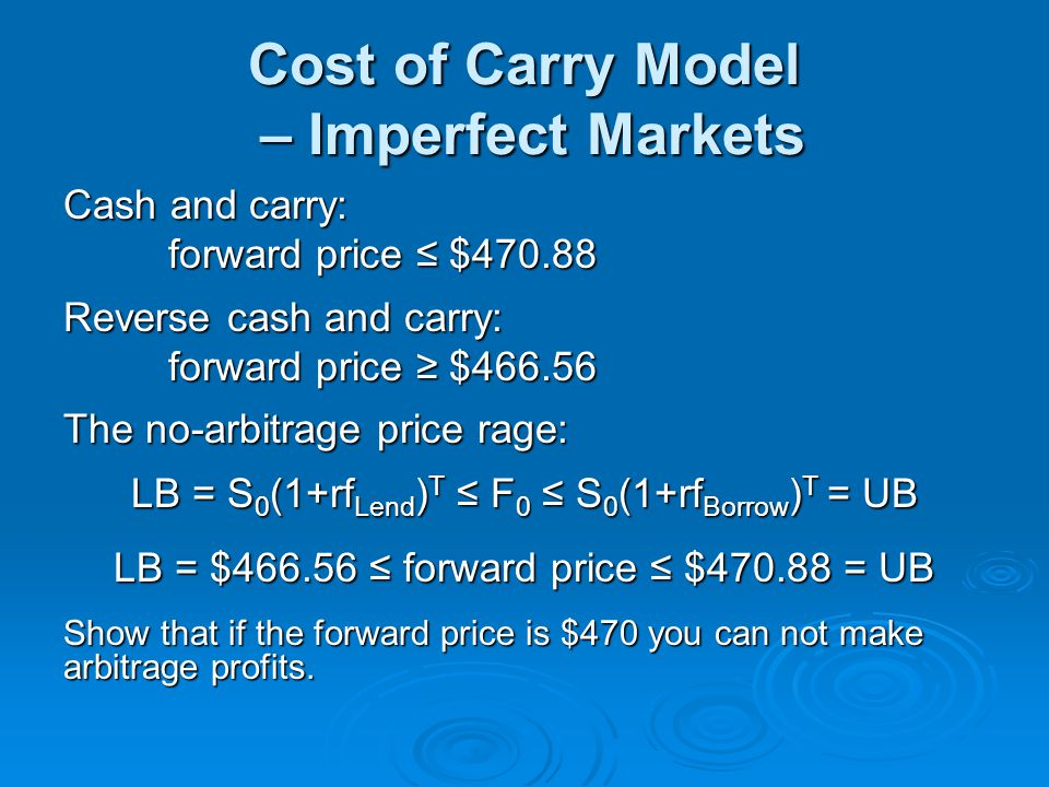 Cost of Carry Model – Imperfect Markets Cash and carry: forward price $470.88 Reverse cash and carry: forward price $466.56 The no-arbitrage price rag