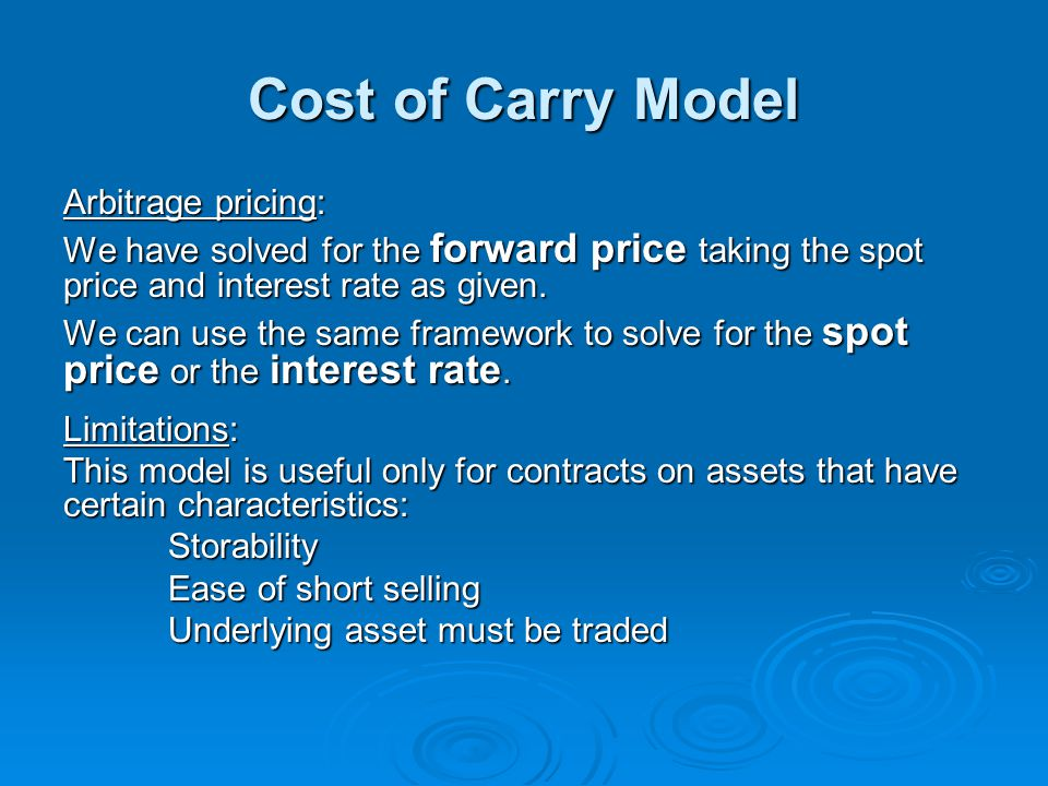 Cost of Carry Model Arbitrage pricing: We have solved for the forward price taking the spot price and interest rate as given. We can use the same fram