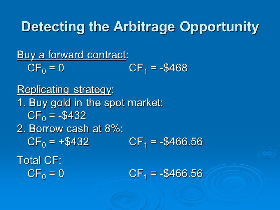 Detecting the Arbitrage Opportunity Buy a forward contract: CF 0 = 0CF 1 = -$468 Replicating strategy: 1. Buy gold in the spot market: CF 0 = -$432 2.