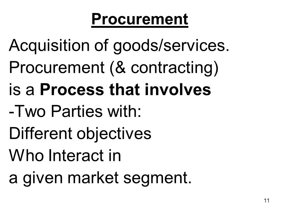 11 Procurement Acquisition of goods/services. Procurement (& contracting) is a Process that involves -Two Parties with: Different objectives Who Inter