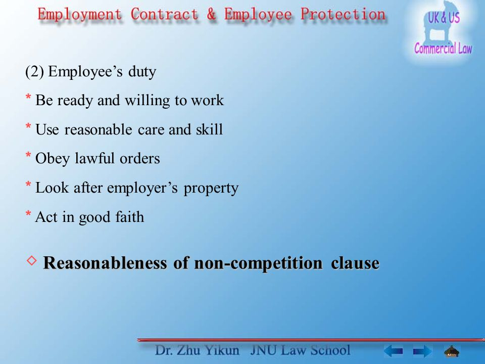 SectorPositionRestraint clauseReasonable- ness Reason AttorneyPartnerNot to work as an attorney within a 5 mile radius for 2 years Necessary to protect its client base and goodwill.