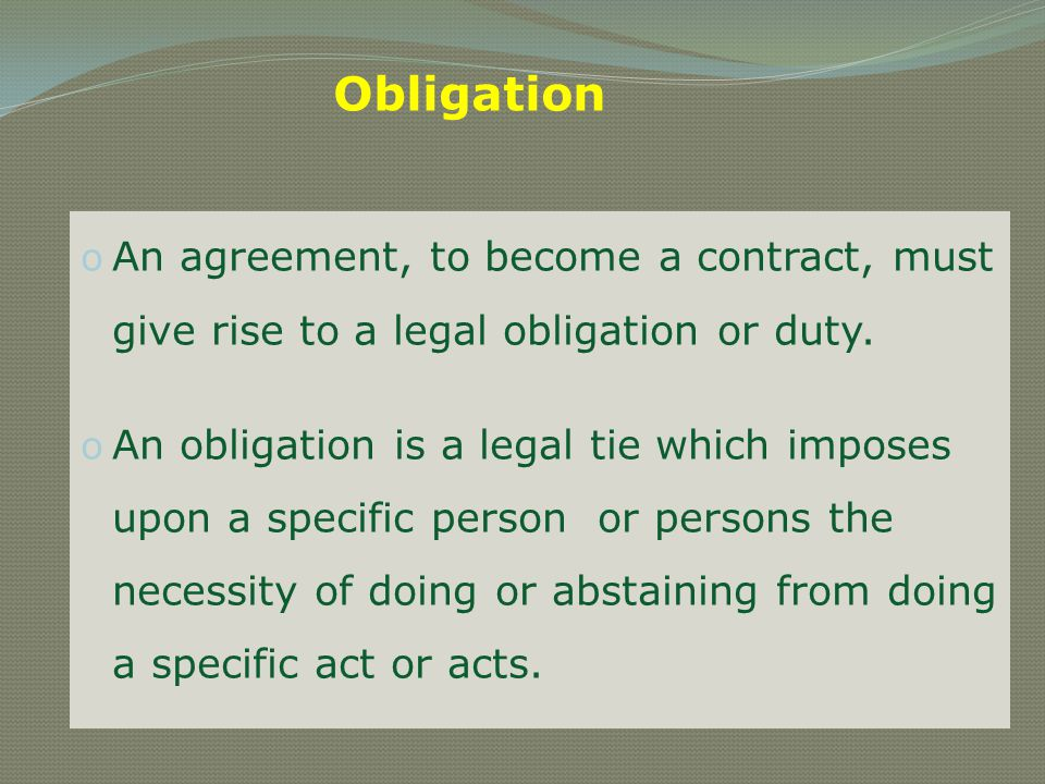 o An agreement which gives rise to social obligation is not a contract o An agreement is a wider term o An agreement may be a social agreement or a legal agreement o If A invites B to a dinner and B accepts the invitation, it is a social agreement.