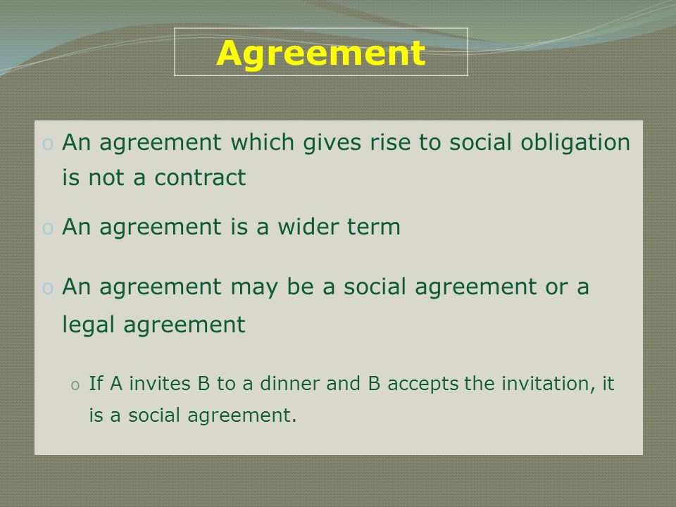 Contracts vs Agreements All contracts are agreements, but not all agreements are necessarily contracts