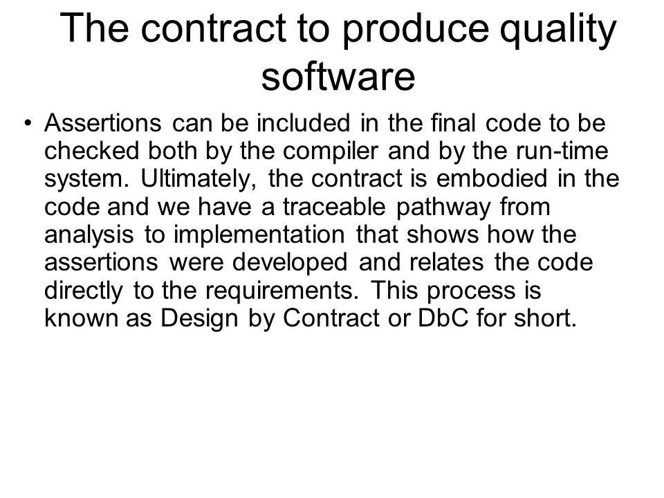 Subcontracting and inheritance When we come to examine the idea of subcontracts in software we must bear in mind that objects relate to one another in two basic ways: 1 through associations (e.g.