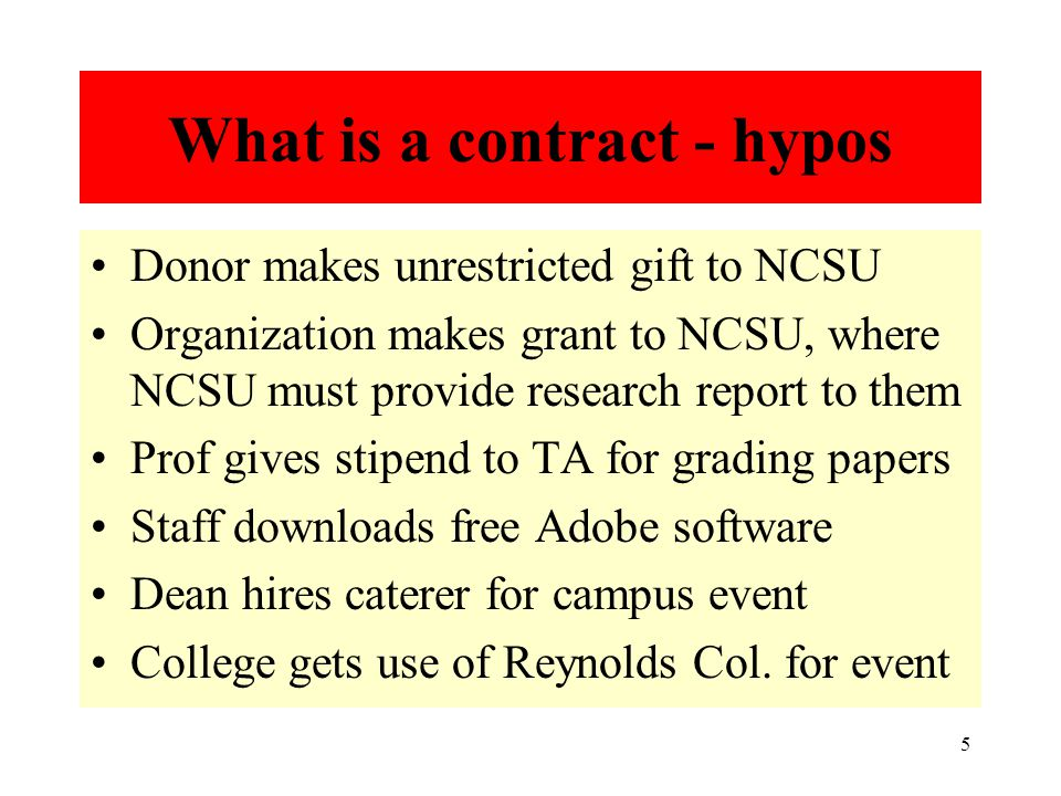 5 What is a contract - hypos Donor makes unrestricted gift to NCSU Organization makes grant to NCSU, where NCSU must provide research report to them Prof gives stipend to TA for grading papers Staff downloads free Adobe software Dean hires caterer for campus event College gets use of Reynolds Col.