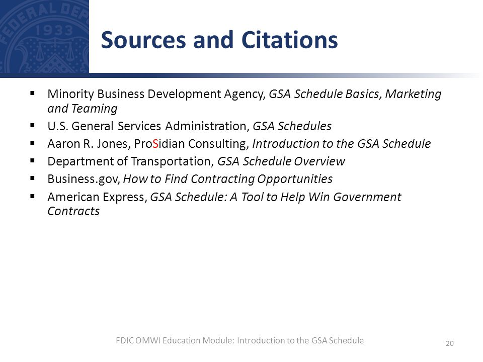 Minority Business Development Agency, GSA Schedule Basics, Marketing and Teaming U.S. General Services Administration, GSA Schedules Aaron R. Jones, P