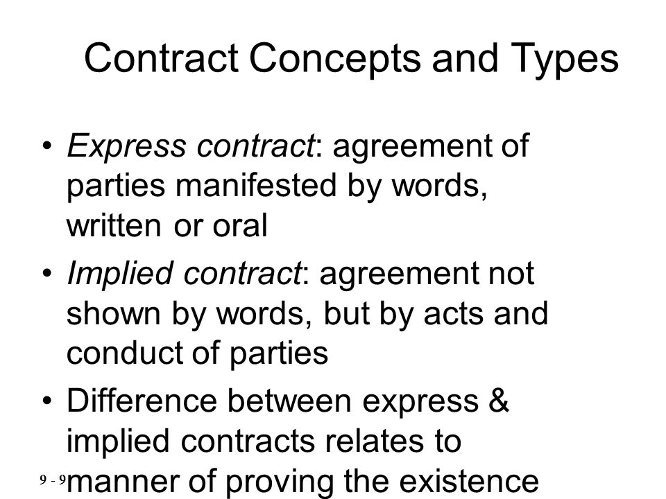 Express contract: agreement of parties manifested by words, written or oral Implied contract: agreement not shown by words, but by acts and conduct of parties Difference between express & implied contracts relates to manner of proving the existence of the contract, not the effect; one or the other arises Contract Concepts and Types 9 - 9