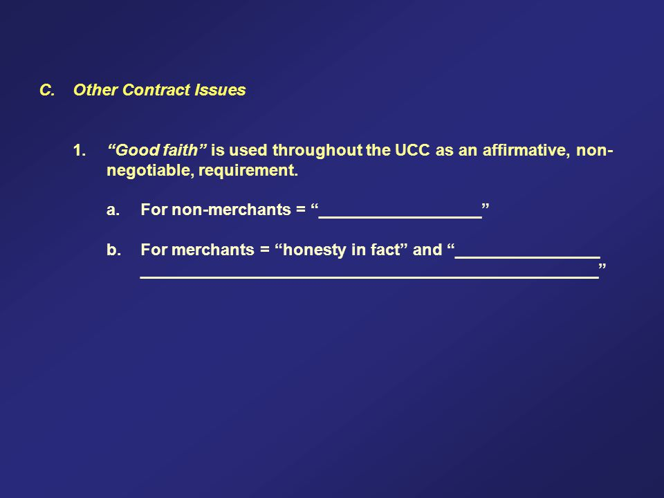 C. Other Contract Issues 1.