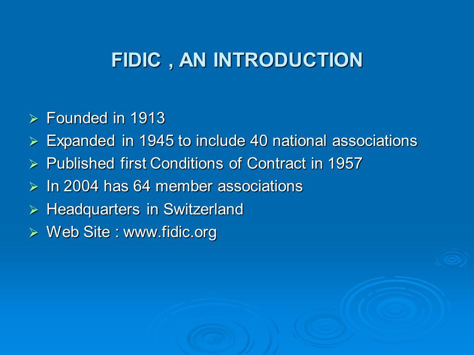 FIDIC conditions of contract 1 GENERAL PROVISIONS 1.1 Definitions 1.2 Interpretation 1.3 Communications 1.4 Law and Language 1.5 Priority of Documents 1.6 Contract Agreement 1.7 Assignment 1.8 Care and Supply of Documents 1.9 Delayed Drawings or Instructions 1.10 Employers Use of Contractors Documents 1.11 Contractors Use of Employers Documents 1.12 Confidential Details 1.13 Compliance with Laws 1.14 Joint and Several Liability