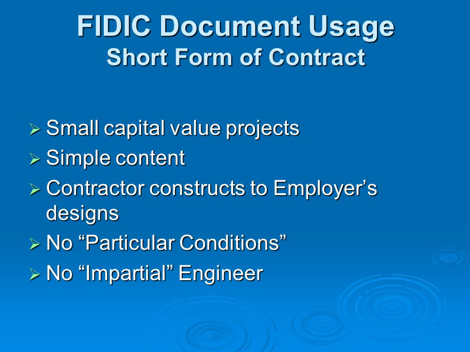 Typical sequence of Principal Events during Contracts