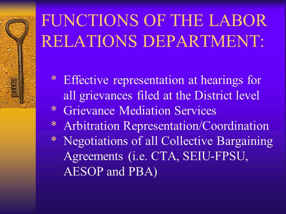 GOALS OF THE LABOR RELATIONS DEPT: * Maintain and improve relationships with all employee groups and Unions * Create and update an archive file of all labor contracts and District level grievances, including Arbitrations * Assist management with the understanding and interpretation of all labor contracts to reduce the number of grievances filed.