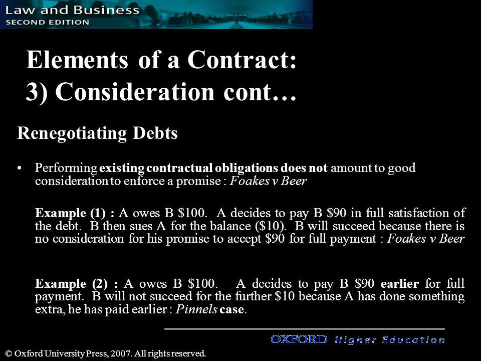 © Oxford University Press, 2007. All rights reserved. Elements of a Contract: 3) Consideration cont… Renegotiating Debts Performing existing contractu