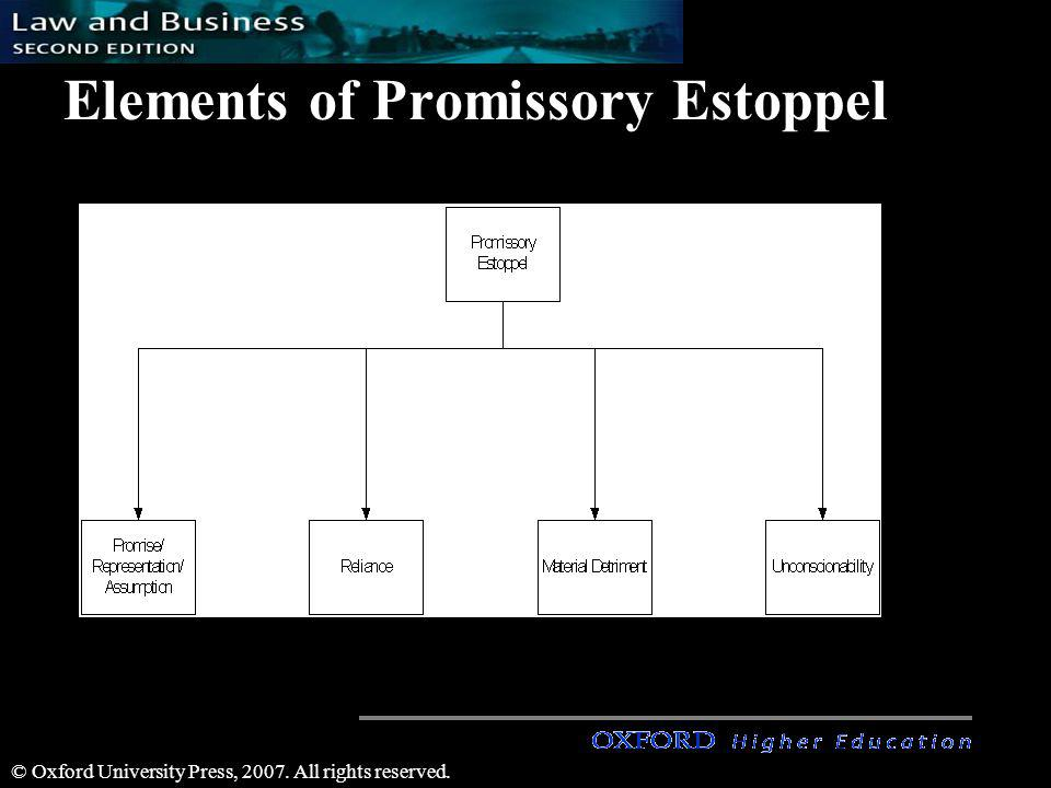 © Oxford University Press, 2007. All rights reserved. Elements of Promissory Estoppel